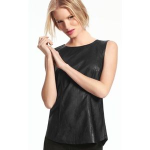 [CABi] Fleather Faux Leather Black Shell Top